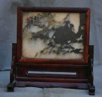 Vieux Chine Huanghuali Wood Inlay Jade Dynasty Palais écran pliant
