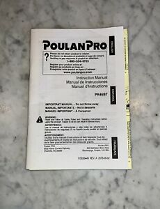 Poulan Pro Blower PR46BT Gas Powered Instruction Operators Manual User Guide