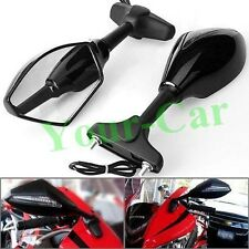 2x Black Integrated LED Turn Signal Mirror for Kawasaki Ninja 250R 500 EX ZX6R