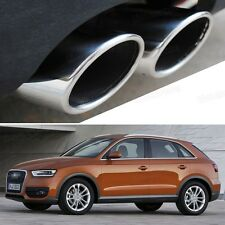 2 x Silver Tailpipe Trims Exhaust Muffler Tail Pipe Tip for Audi Q3 2012-2014