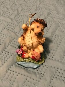 Fishing Hedgehog With A Fish On His Line Figurine
