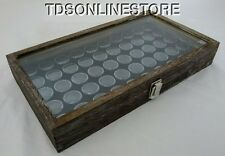 Rustic Antique Coffee Color Glass Top Display Case With 50 Gem Jars Blk