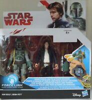 Hasbro Star Wars, Twin Pack, Han Solo and Boba Fett,  Force Link 1 BNIB