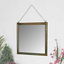 Gold Square Wall Mirror vintage hanging rustic bathroom bedroom home decor
