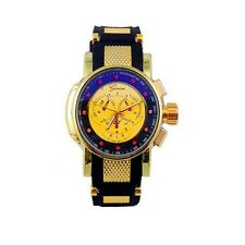 Gold Black Mens Watch Geneva Metal Oversized Designer Silicone Band Sports