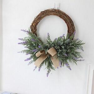 Rustic Rattan Silk Lavender Front Door Wreath Home Office Wedding Decor