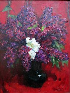 b.1923 DAVID Z. SHOSTAK Ukrainian Artist OIL PAINTING Flowers FLORAL Listed RED