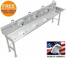 "ADA HAND WASH SINK 4 STATION 96"" ELECTRONIC FAUCET FREE STANDING STAINLESS STEEL"