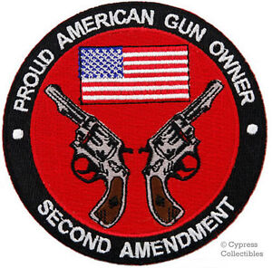 PROUD AMERICAN GUN OWNER iron-on PATCH 2nd AMENDMENT REVOLVER embroidered PISTOL