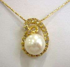 Real White Freshwater Pearl 18KGP Crystal Bud Women Girl Pendant Chain Necklace