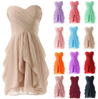 Short Formal Chiffon Wedding Party Prom Gown Bridesmaid Evening Cocktail Dresses