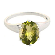 14KT White Gold Natural Olive-Green Peridot 1.40 Carat Oval Shape Solitaire Ring