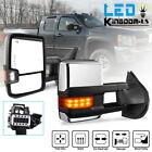 Pair for 07-13 Silverado Sierra Tow Mirrors Chrome Power Heated LED Amber Signal
