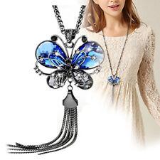 Women Butterfly Pendant Tassels Rhinestone Long Sweater Chain Necklace Jewelry