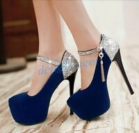 Sexy Ladies High Heels Platform Round Toe Shoes Party Clubwear Pumps New Sizes 6
