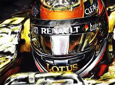 Kimi Raikkonen Lotus Renault F1 Car Helmet Visor Cockpit Art Print New Poster