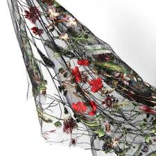 1.5m Floral Flower Embroidery Black Mesh Wedding Bridal Veil Lace Fabric Dress