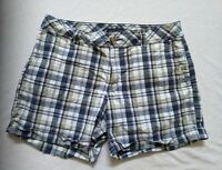 "Tommy Hilfiger Women's Blue Green Pink Plaid Cuffed Shorts Size 6 4.5"" Inseam"