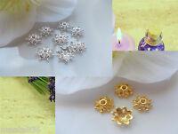 50 Perlenkappen 10 mm Perlkappen Endkappen Spacer Gold Silber Mix Metall DIY