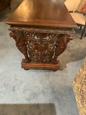 Vintage Cherry Wood Hand carved Lion Design On Legs Very Ornate