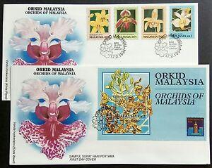 Malaysia 1994 Flowers Orchids 4v Stamps + Mini-Sheet FDC x1 pair (Kuala Lumpur)