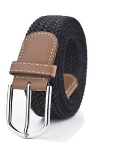 Women Ladies Unisex Elasticated Belts Canvas Stretch Elastic Braided Belt Buckle
