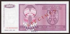 Bosnien & H. / Bosnia 5000 Dinara SPECIMEN 1992 Pick 138s (1)