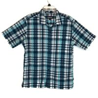 Patagonia Short Sleeve Plaid Button Front Shirt mens size Medium