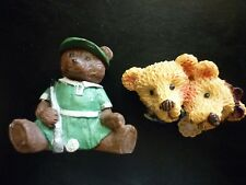 Vintage Resin Teddy Bear Figurines-Pins (Boy & Girl Pal Pin.Young Lady Golfer)