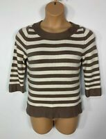 WOMENS MARKS&SPENCER SIZE UK 12 BROWN&CREAM CASUAL KNIT JUMPER SWEATER PULLOVER