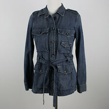 Gap Denim Jacket Womens Sz S Small Blue Jean Trench Coat Military Safari Blazer