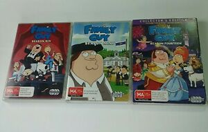 family guy dvds seasons 6 , 9 and  14 srason 14 is collectors edition