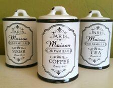 Set of 3 Coffee Tea Sugar Canisters Vintage Paris Style Aged White Storage Jars