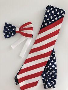 AU US American United States Star Stripe Flag Party Neck bow tie Necktie bowtie