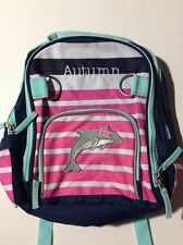 Pottery Barn Kids Small Fairfax Green Blue Striped Pink Backpack name AUTUMN New