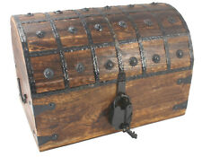 "Distressed Pirate Treasure Chest XL Extra Large 16""x11""x11"" Antique Style Lock"