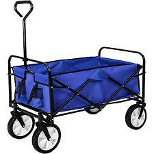 Faltbarer Bollerwagen Transportwagen Handwagen Gartenwagen klappbar blau