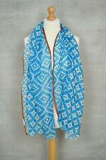 New PEACE OF MIND blue geometric pashmina scarf Made In India