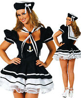 Ladies Sexy Lady Sailor Costume 4 Piece Dress Cap Collar & Thong Size 12-14 5605