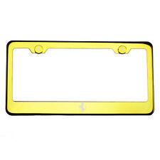 Gold Chrome License Plate Frame 304 Stainless Steel Laser Engraved Ferrari Logo