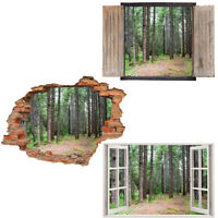 Window Wall Sticker Decal Vinyl 3D Forest Landscape Trees home art room decor