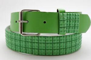 Women Popular Belt Green Faux Leather Silver Metal Buckle Studs Size S M L XL