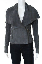 Vince Gray Leather Shawl Collar V Neck Zip Front Jacket Size Extra Small New