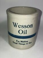 Vintage Wesson Oil Blue Striped Stoneware Crock - See Pics Nice! Make Offer!