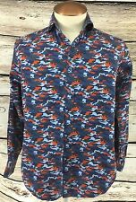 Thomas Dean Mens Blue Camo Button Up Shirt Size S