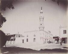 Egypte Mosquée Scène de rue ville à identifier Vintage Albumine ca 1895