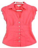 Banana Republic Short Sleeve Shirt Womens Sz 6 Hot Pink Button Up CUTE SLIMMING!