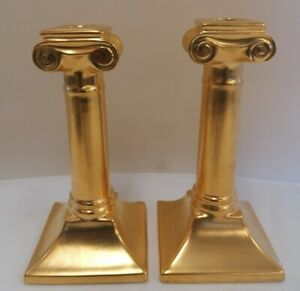 Pair of Laura Ashley Gold Coloured 8'' Candlesticks (D4)