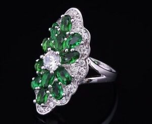 Green Cubic Zirconia Oval Victorian Statement Ring 18K White Gold Plated UK Shop