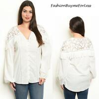 PLUS SZ Ivory Western Rodeo Cowgirl Lace Tassel Fringe Poplin Shirt Top 1X 2X 3X